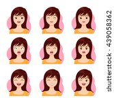 woman emotions expression icons ... | Shutterstock .eps vector #439058362