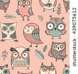 Cute  Hand Drawn Owl Pattern ...