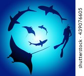 shark and diver  swimming with... | Shutterstock . vector #439076605