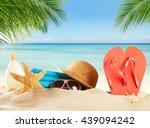 summer accessories on sandy... | Shutterstock . vector #439094242