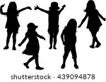 silhouettes of children playing. | Shutterstock .eps vector #439094878