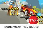 cartoon scene of police pursuit ... | Shutterstock . vector #439102012