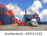 crane lifter handling container ...   Shutterstock . vector #439111132