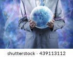 businessman holding earth in... | Shutterstock . vector #439113112