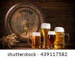 beer barrel with beer glasses... | Shutterstock . vector #439117582