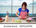 young woman working in the... | Shutterstock . vector #439124596