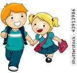 kids going to school   vector | Shutterstock .eps vector #43913986