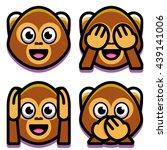 Vector Emoji Monkeys Set...