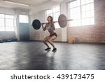 female bodybuilder doing...   Shutterstock . vector #439173475