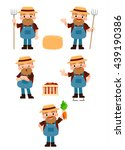 vector happy farmer character... | Shutterstock .eps vector #439190386