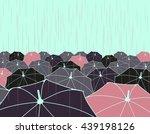 a field of umbrellas under the... | Shutterstock .eps vector #439198126