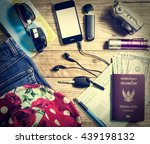 set of travel accessory with... | Shutterstock . vector #439198132