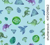 seamless pattern with funny... | Shutterstock . vector #439209862