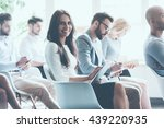 enjoying the conference. side... | Shutterstock . vector #439220935