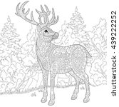 zentangle stylized cartoon deer ... | Shutterstock .eps vector #439222252