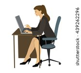 brunette woman working on a... | Shutterstock . vector #439262296