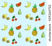 group of fresh fruit doodle.... | Shutterstock .eps vector #439264702