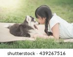 Stock photo beautiful asian girl playing with siberian husky puppy in the park vintage filter 439267516