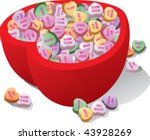 heart shaped bowl filled with... | Shutterstock .eps vector #43928269