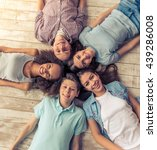 top view of group of teenage... | Shutterstock . vector #439286008