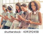 attractive teenage afro...   Shutterstock . vector #439292458