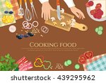 chef cooks preparing food cook... | Shutterstock .eps vector #439295962