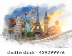 famous landmarks of the world... | Shutterstock . vector #439299976
