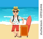 happy handsome tourist mascot.... | Shutterstock .eps vector #439316446