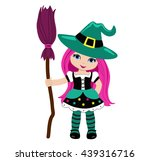 halloween cute witch with pink... | Shutterstock . vector #439316716