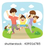 happy family run  together  | Shutterstock .eps vector #439316785
