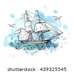 vintage vector background with... | Shutterstock .eps vector #439325545