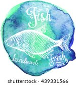 vector. fish sketch drawn on a... | Shutterstock .eps vector #439331566