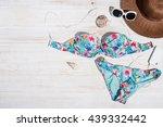 set of woman's accessories seen ... | Shutterstock . vector #439332442