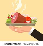 hand holding serving plate with ... | Shutterstock .eps vector #439341046
