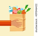hands hold paper bag with food. ... | Shutterstock .eps vector #439346422
