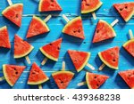 watermelon slice popsicles on a ... | Shutterstock . vector #439368238