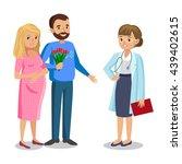 family visiting doctor in... | Shutterstock .eps vector #439402615