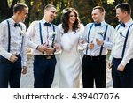 bride posing with bridesmen in...   Shutterstock . vector #439407076