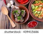 roasted meat and vegetables on... | Shutterstock . vector #439415686