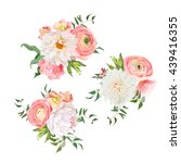 bouquets of rose  peony ...   Shutterstock .eps vector #439416355