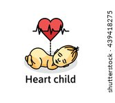 baby heartbeat. heart child.... | Shutterstock .eps vector #439418275