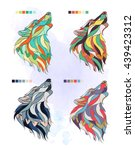 set of colored wolfs on the... | Shutterstock .eps vector #439423312