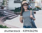 coffee on the go.  beautiful... | Shutterstock . vector #439436296