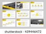 set of yellow infographic...
