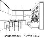 interior outline sketch drawing ... | Shutterstock .eps vector #439457512