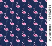 watercolor flamingo seamless... | Shutterstock . vector #439462996