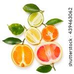 top view of halves citrus... | Shutterstock . vector #439463062