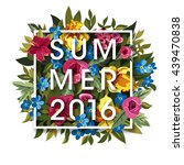 floral summer graphic design... | Shutterstock .eps vector #439470838