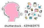 flat line illustration of woman ... | Shutterstock .eps vector #439483975
