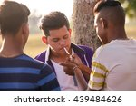 kids smoking cigarette in park. ... | Shutterstock . vector #439484626
